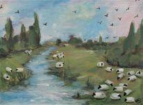 Malerei, Landschaft, Acrylmalerei