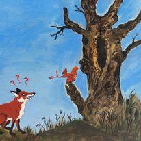 Rotfuchs, Eichhörnchen, Alte bäume, Fuchs