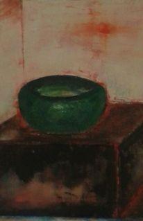 Schale, Malerei, Altetruhe, Spachteltechnikgrün