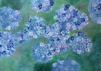Moderne malerei, Acrylmalerei, Blau, Grün