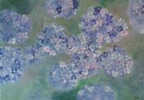 Blau, Weiß, Malerei, Hortensien