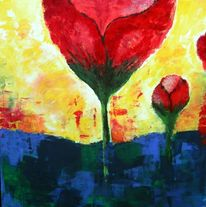 Rot, Blumen, Blau, Abstrakt