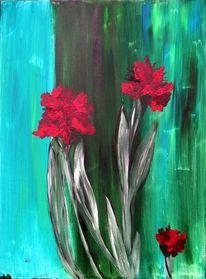 Blumen, Blüte, Blätter, Rot