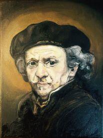 Klassisch, Portrait, Mann, Malerei