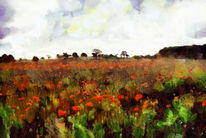 Blüte, Mohn, Malerei, Landschaft