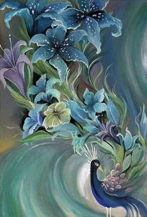 Pfau, Blau, Blumen, Malerei