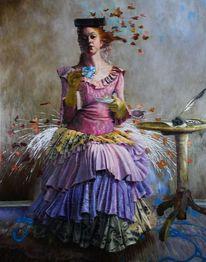Realismus, Frau, Ölmalerei, Figurativ