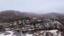 Schnee, Wasser, Architektur, Beyenburg