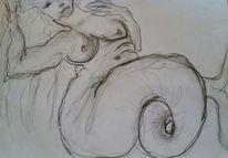 Nixe, Frau, Meerjungfrau, Zeichnungen