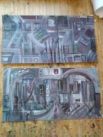Acrylmalerei, Karton, Stadtimpression, Ausdruck
