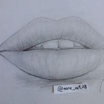 Bleistiftzeichnung, Lippen, Menschen, Zeichnungen