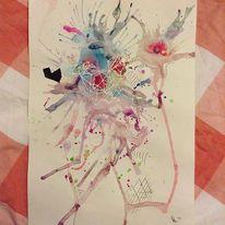 Blau, Pink, Vogel, Malerei