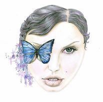Gesicht, Portrait, Schmetterling, Zeichnung