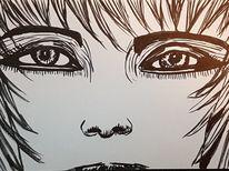Tuschmalerei, Schwarz weiß, Augen, Haare