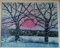 Winter, Schnee, Sonnenuntergang, Baum