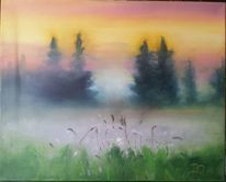 Wiese, Ölmalerei, Bunt, Wald