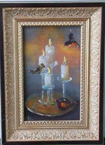 Grau, Gelb, Kerzen, Ölmalerei