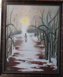 Ölmalerei, Wald, Weiß, Mädchen