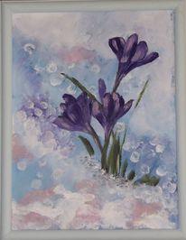 Lila, Weiß, Blumen, Malerei