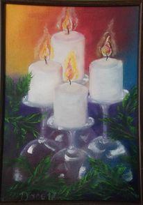 Kerzen, Glas, Winter, Malerei