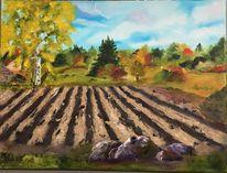 Ölmalerei, Feld, Baum, Stein