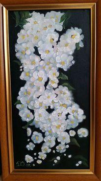 Ölmalerei, Grün, Weiß, Blumen
