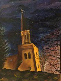 Kirche, Ölmalerei, Nacht, Braun