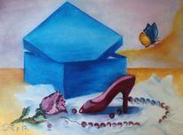 Kette, Rose, Schmetterling, Box
