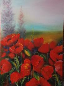 Blumen, Malerei, Rot