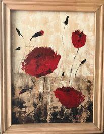 Blumen, Ölmalerei, Beige, Rot