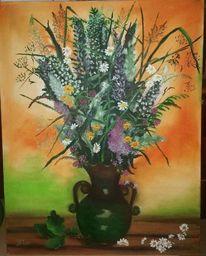 Bunt, Ölmalerei, Krug, Pflanzen
