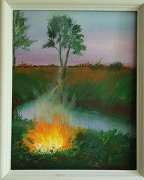 Feuer, Baum, Fluss, Feld