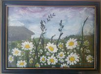 Feld, Himmel, Margareten, Malerei