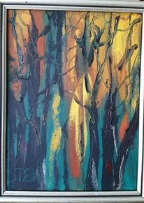 Baum, Ölmalerei, Schwarz, Grün