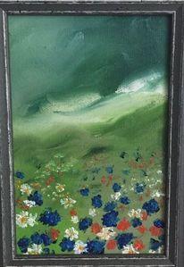 Blumen, Ölmalerei, Wiese, Grün