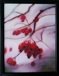 Beere, Ölmalerei, Rot, Weiß