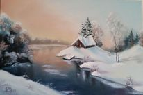 Fluss, Winter, Ölmalerei, Weiß