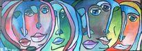 Acrylmalerei, Stadt, Menschen, Stimmung