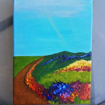 Intensiv, Blumenwiese, Rot, Acrylmalerei