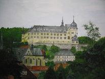 Kirche, Landschaft, Schloss, Aquarell