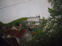 Schloss, Fachwerk, Stadtansicht, Aquarell