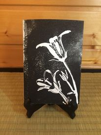 Blumen, Lilie, Linolschnitt, Druckgrafik