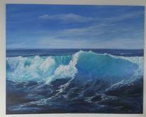 Welle, See, Blue meer, Surfen