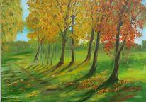 Herbst, Feldweg, Wiese, Feld