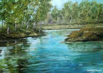 Wiese, Landschaft, Fluss, Malerei