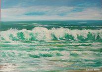 Meer, Landschaftsmalerei, Strand, Welle