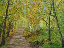 Wald, Sommer, Landschaft, Malerei