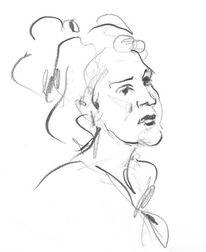Zeichnung, Gesicht, Frau, Locken