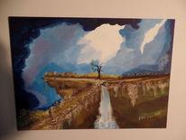Ölmalerei, Der weg, Auf leinen, Die entscheidung