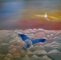Menschen, Vogel, Wolken, Sonne